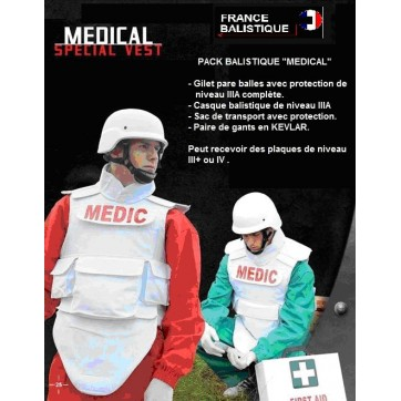 PACK BALISTIQUE COMPLET SPECIAL MEDICAL GILET + SACOCHE + CASQUE PARE BALLE